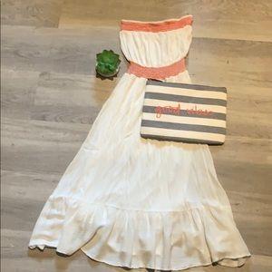 Zara strapless white dress w/ red elastic detail.